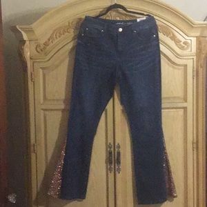 Inc Flare Jean sequin in lay